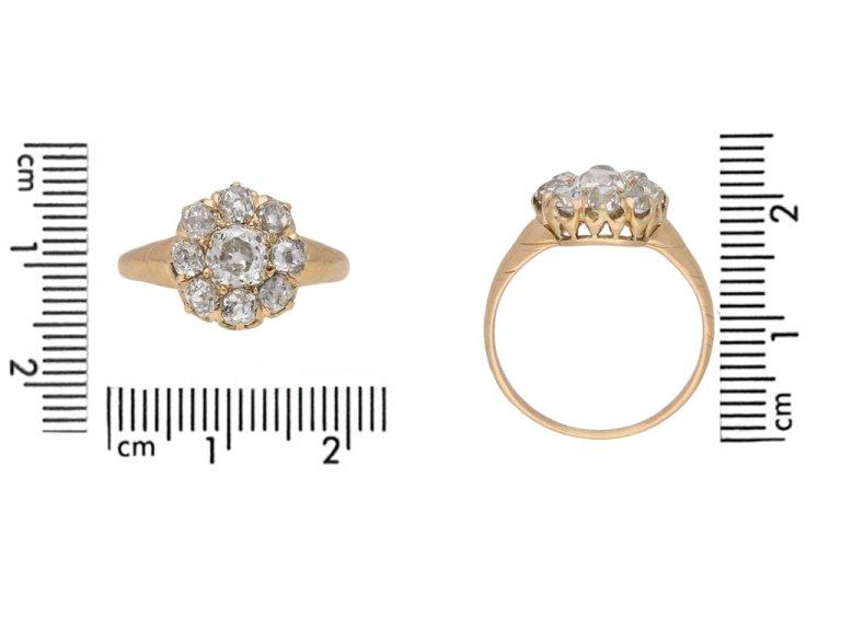 side veiw antique diamond cluster ring berganza hatton garden