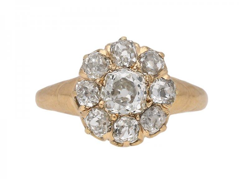 front veiw antique diamond cluster ring berganza hatton garden