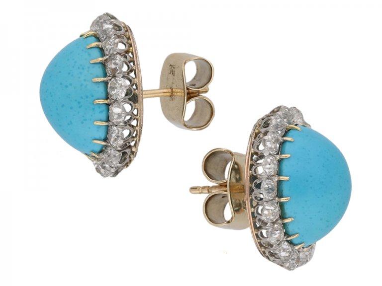 antique diamond turquoise earrings berganza hatton garden