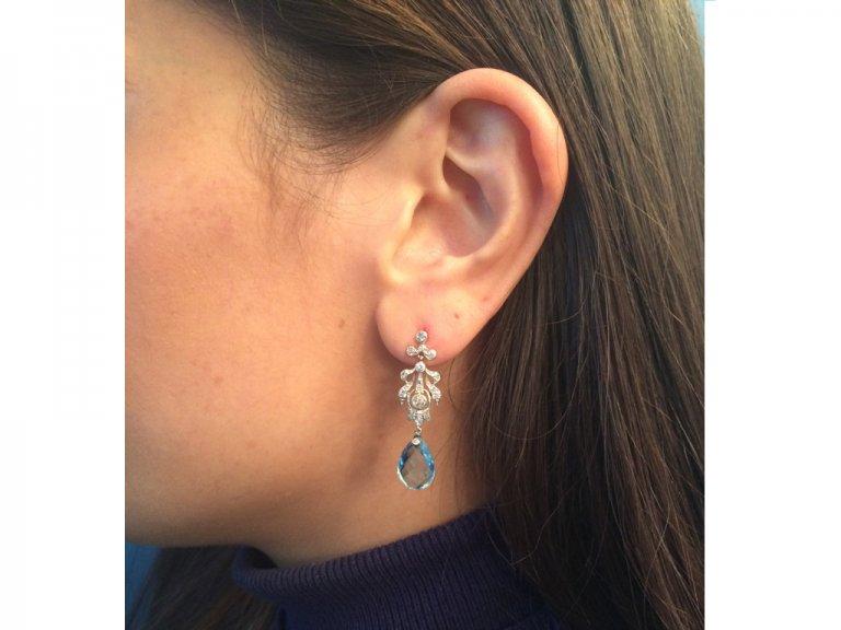 antique aquamarine diamond earring berganza hatton garden