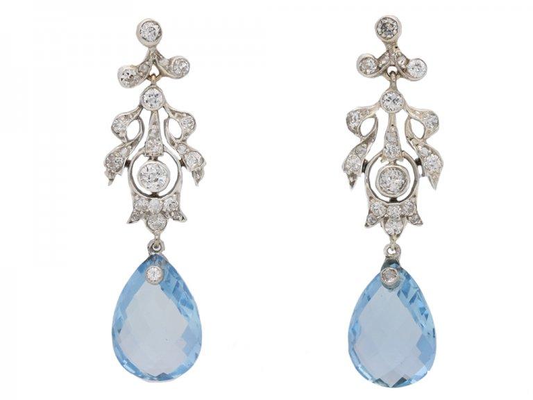 front veiw antique aquamarine diamond earring berganza hatton garden