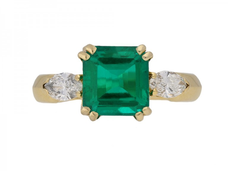 front vintage emerald diamond ring berganza hatton garden