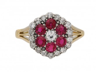 front view antique ruby diamond ring berganza hatton garden