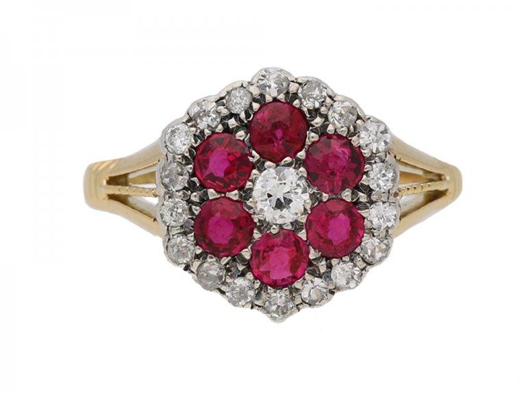 front view antique ruby diamond ring berganza hatton garden