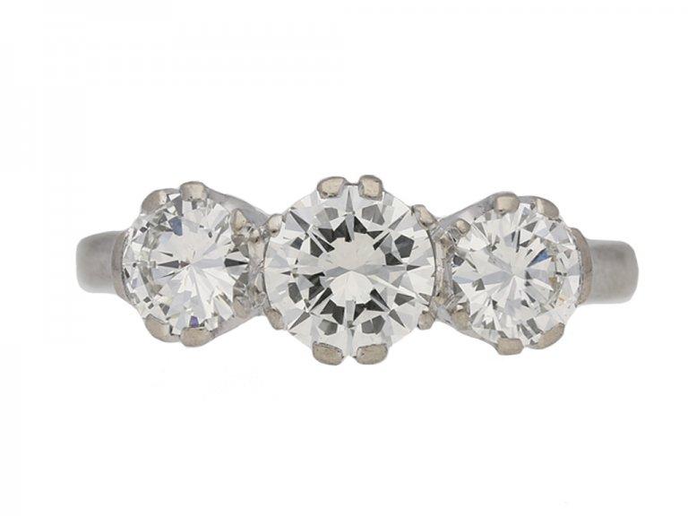 front view vintage diamond three stone ring berganza hatton garden