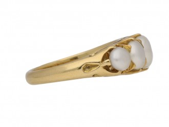 front view antique natural pearl ring berganza hatton garden