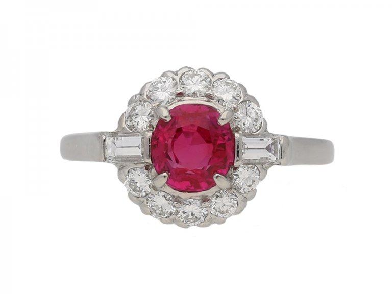 front vintage ruby diamond cluster ring berganza hatton garden