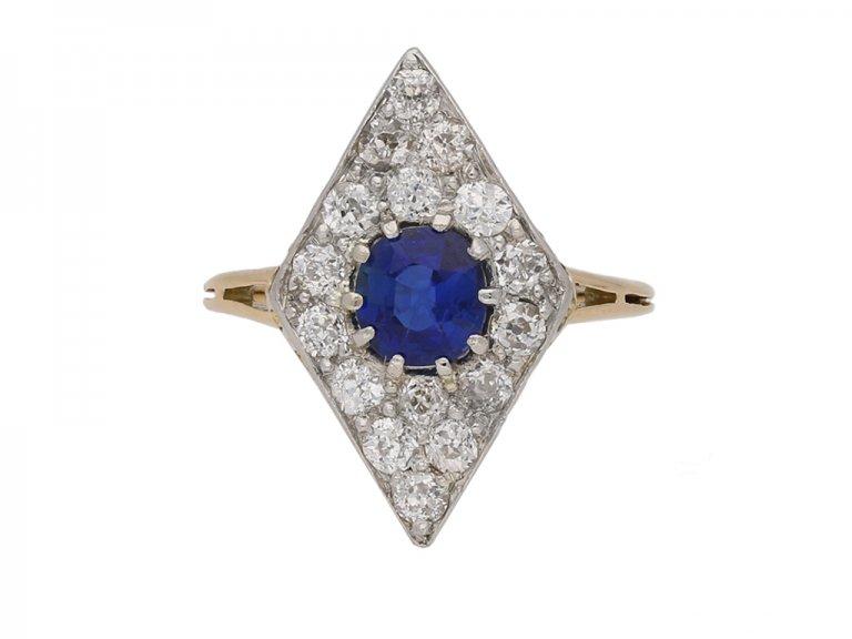 front antique sapphire diamond ring berganza hatton garden
