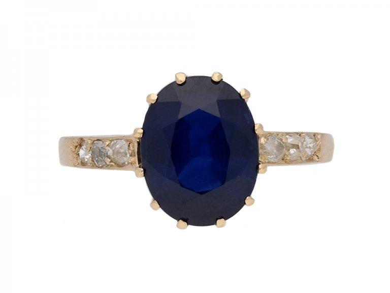 front vintage diamond sapphire ring berganza hatton garden