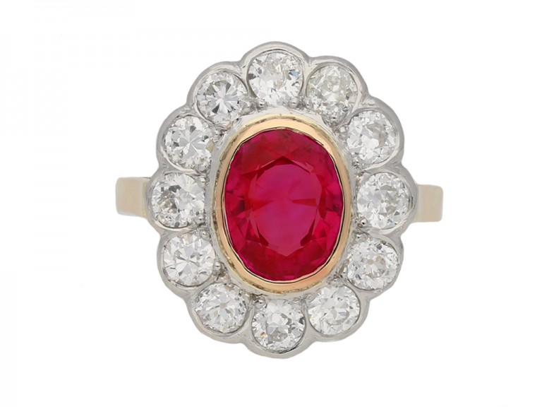 front Antique Burmese ruby diamond ring berganza hatton garden