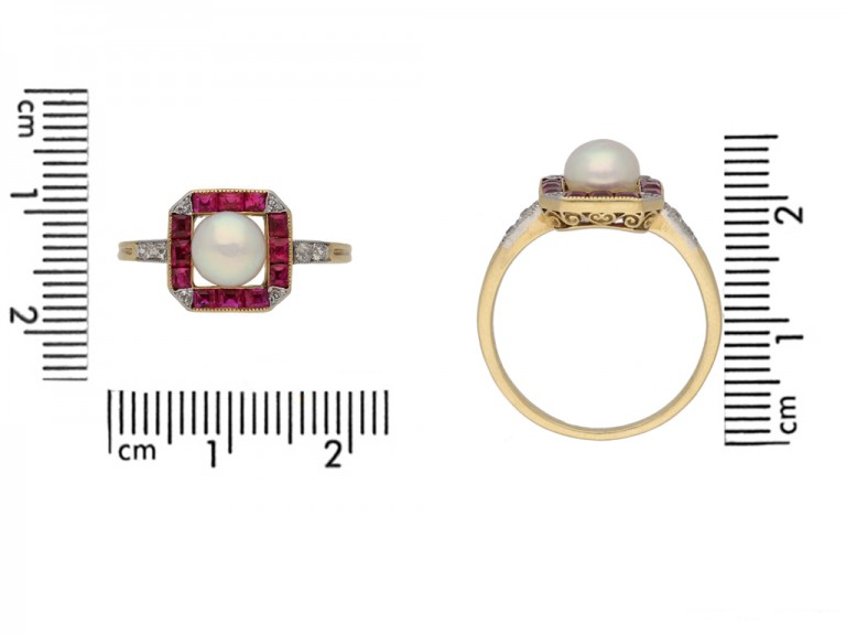front antique pearl ruby diamond ring berganza hatton garden
