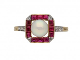 front antique pearl ruby diamond ring berganza hatton garden
