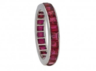 front Art Deco ruby eternity ring berganza hatton garden
