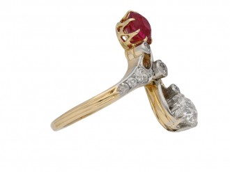 Antique ruby and diamond crossover ring Berganza hatton garden