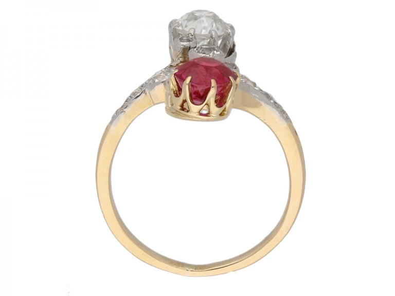 Antique ruby and diamond crossover ring Berganza hatton garden