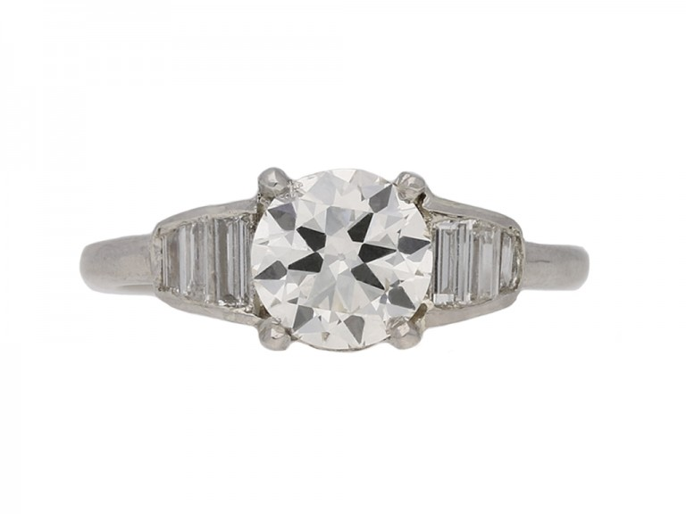 front Art Deco diamond solitaire ring berganza hatton garden
