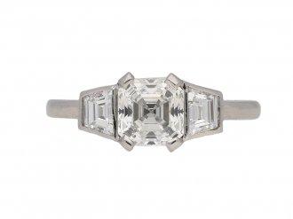 front Art Deco Asscher cut diamond ring berganza hatton garden