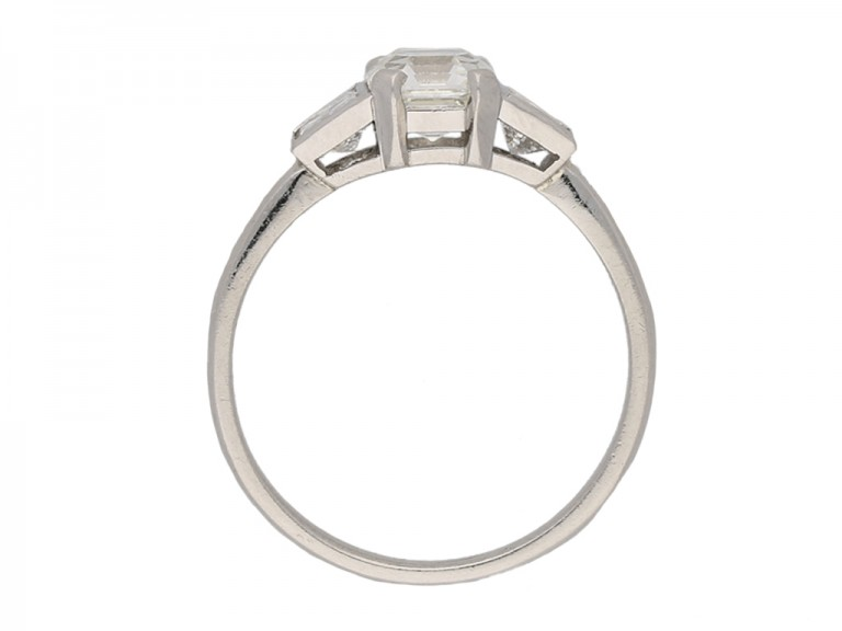 front Art Deco Asscher cut diamond ring berganza hatton garden