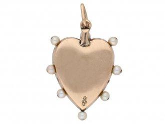 Child Child pearl enamel heart pendant berganza hatton garden