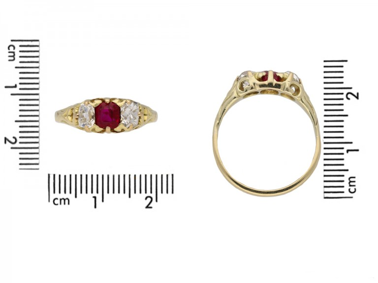 front Antique ruby diamond carved ring hatton garden garden