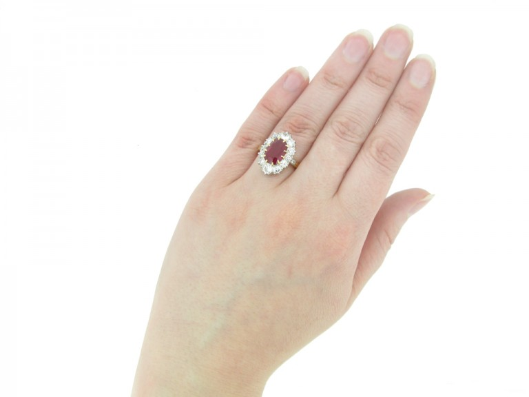 front antique diamond ruby cluster ring berganza hatton garden