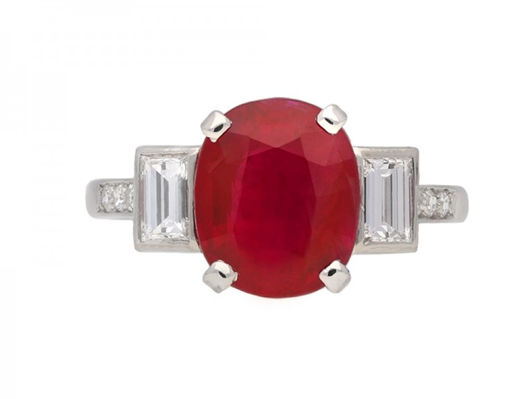 Art Deco ruby diamond ring berganza hatton garden