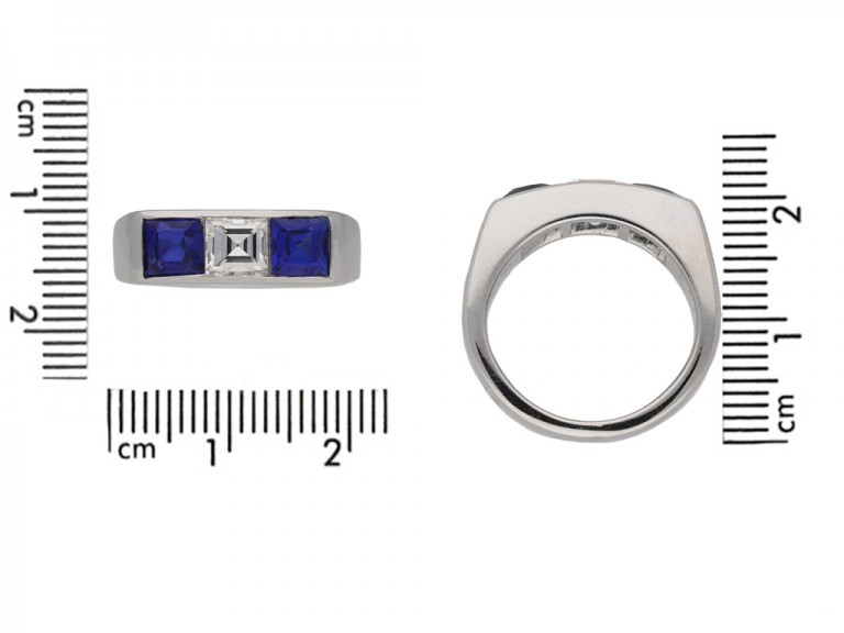 front Cartier Diamond sapphire ring hatton garden garden