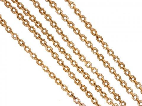 Art Nouveau gold long chain berganza hatton garden