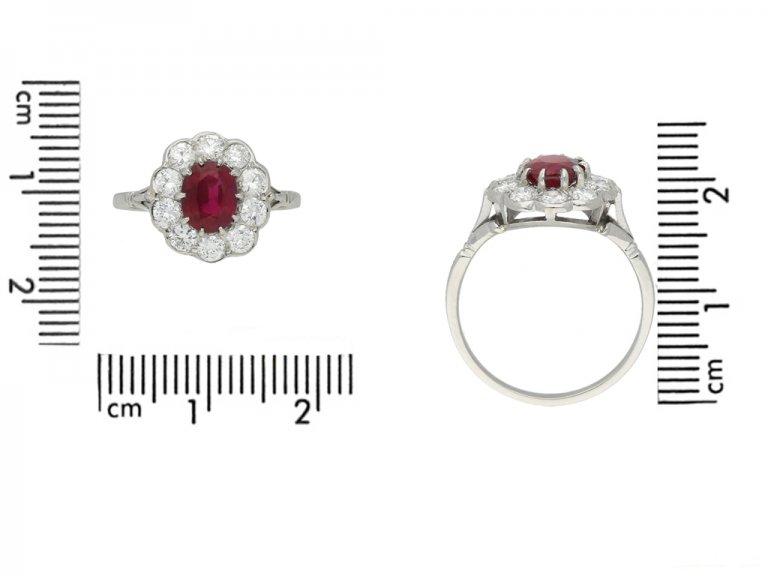 front vintage ruby diamond cluster hatton garden berganza