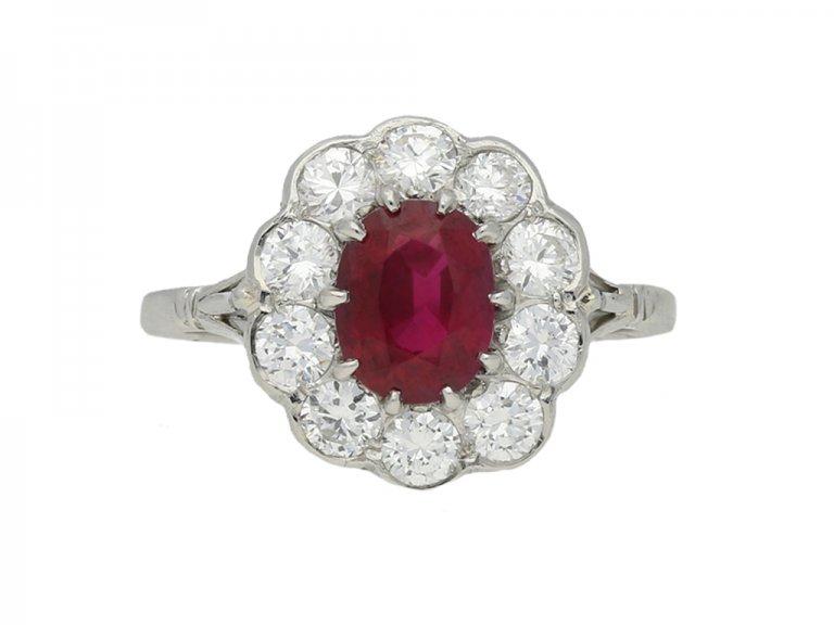 vintage ruby diamond cluster hatton garden berganza