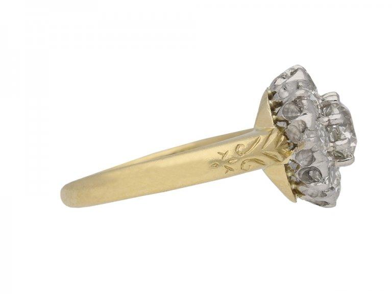 front antique diamond cluster ring berganza hatton garden