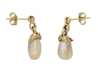 Natural pearl and diamond earrings berganza hatton garden