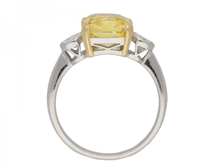 front Vintage yellow sapphire diamond ring berganza hatton garden