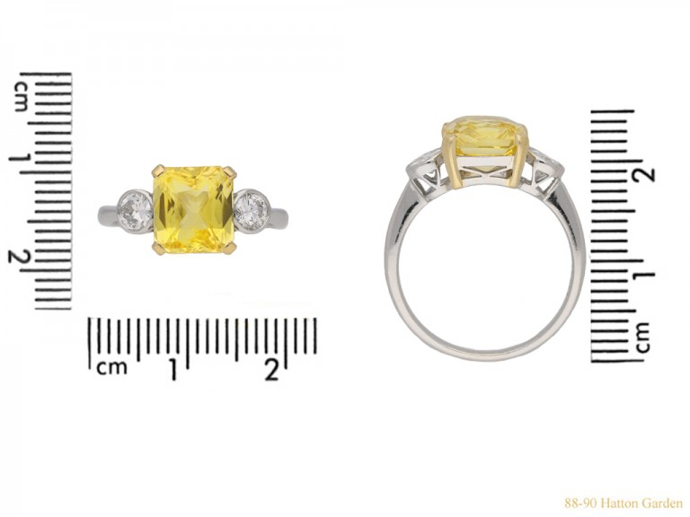 front Vintage yellow sapphire diamond ring berganza hatton garden