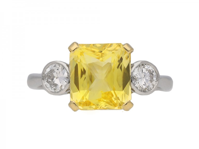 Vintage yellow sapphire diamond ring berganza hatton garden
