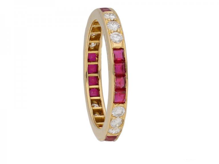 side oscar heyman diamond ruby eternity ring berganza hatton garden