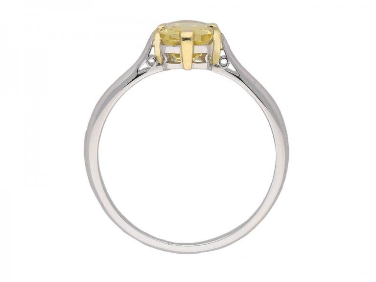 front vintage yellow sapphire ring berganza hatton garden