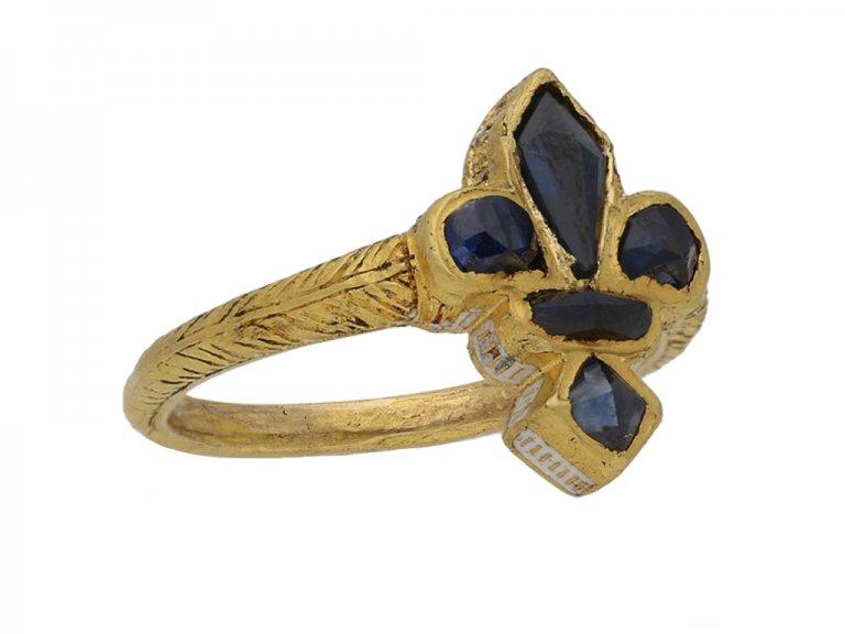 front gold sapphire Fleur de lys ring berganza hatton garden