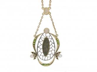 Art Nouveau opal diamond necklace berganza hatton garden