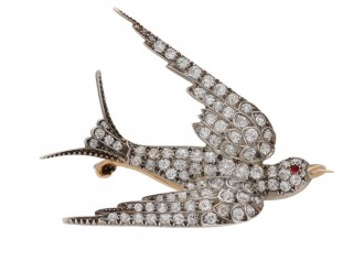 Antique diamond ruby bird brooch berganza hatton garden