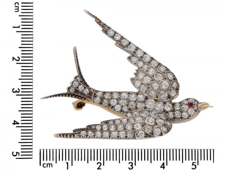 Antique diamond ruby bird brooch berganza hatton garden