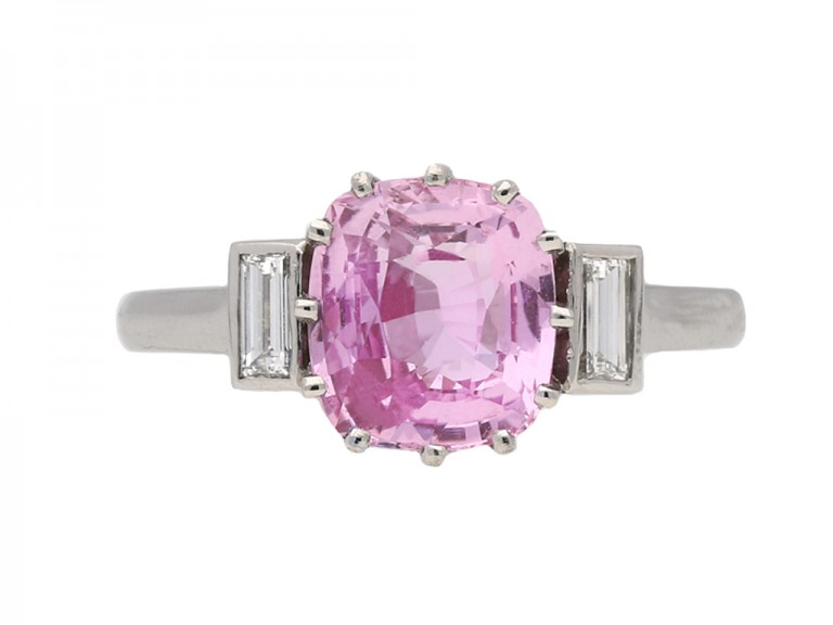 art deco pink sapphire diamond ring hatton garden berganza
