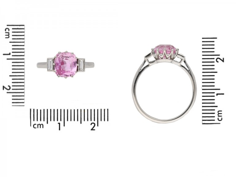 front art deco pink sapphire diamond ring hatton garden berganza