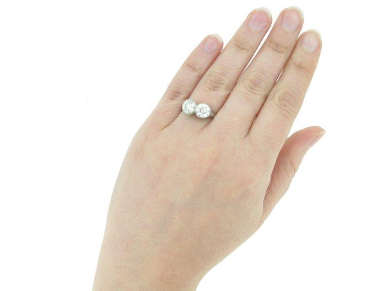 front antique diamond two stone ring berganza hatton garden