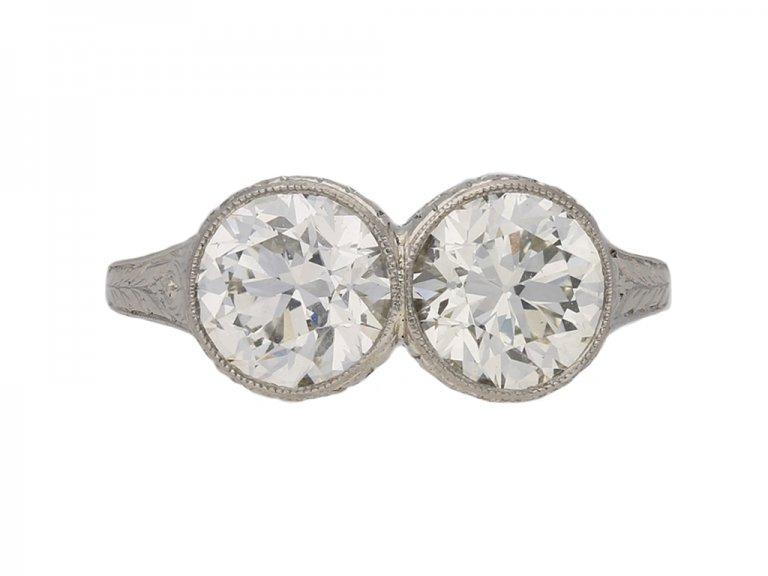 antique diamond two stone ring berganza hatton garden
