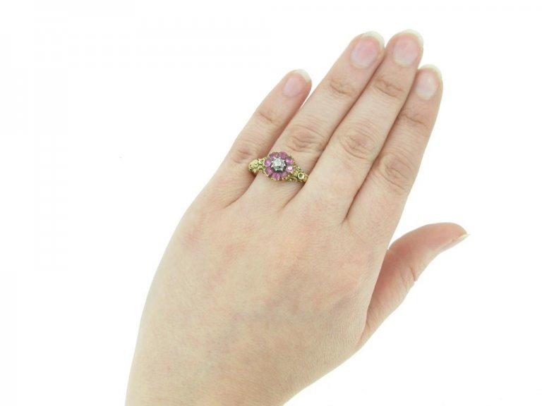 front antique diamond ruby ring berganza hatton garden