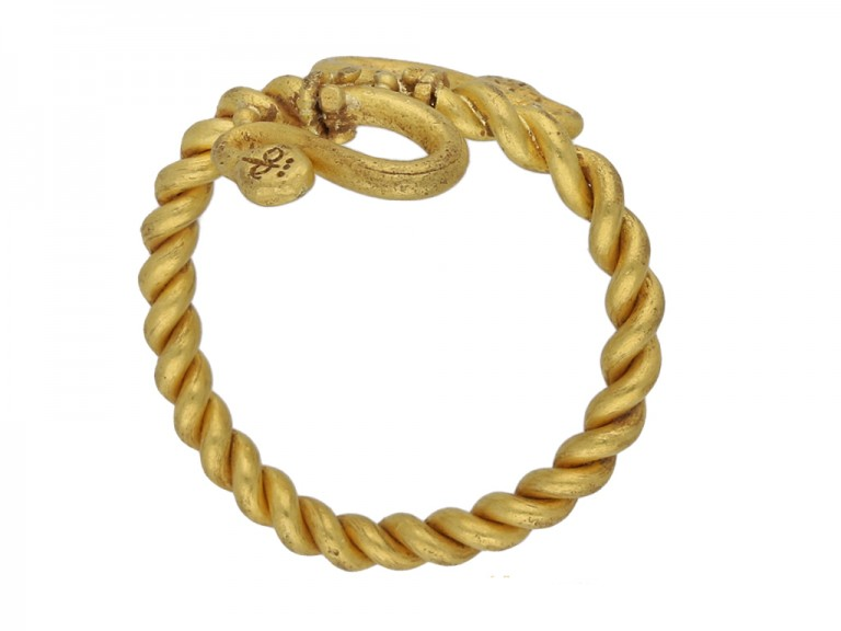 front Egyptian snake gold ring berganza hatton garden