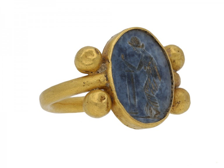 front ancient roman gold intaglio ring berganza hatton garden