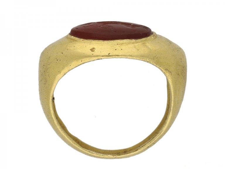 front Ancient Roman Putto intaglio ring hatton garden berganza