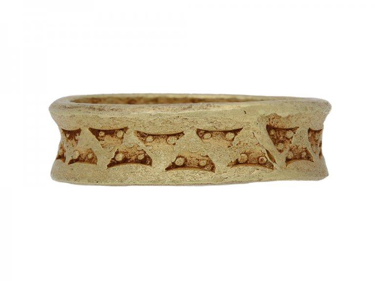 Viking yellow gold stamped  ring hatton garden berganza